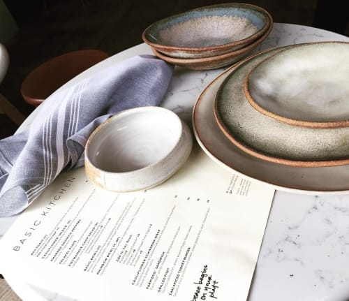 Ceramic Plates by Mary Mar Keenan seen at BASIC KITCHEN, Charleston - MMclay Lines of Tableware