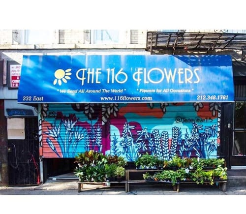 Murals by Jenevieve seen at 116 Flowers, New York, New York - Flowers From Concrete