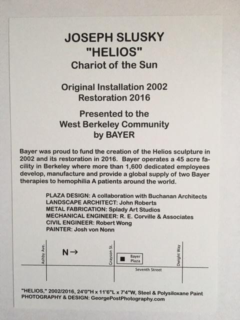 "Public Sculptures by Joseph Slusky seen at Bayer Plaza, Berkeley - ""Helios"" Chariot Of The Sun"