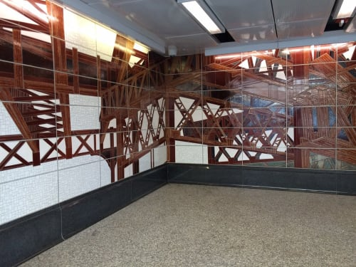 Murals by Jean Shin seen at Lexington Av - 63 St Subway Station, New York - Elevated