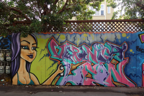 Street Murals by Veronica Leon seen at Cypress Alley, SF, San Francisco - Sizzling