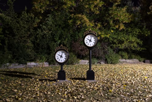 Public Sculptures by Laura Swanson seen at Socrates Sculpture Park, Queens - Street Clocks