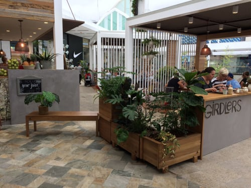 Furniture by Recycled Timber Furniture Sydney - Growready seen at Girdlers, Brookvale - Self-Watering Planters