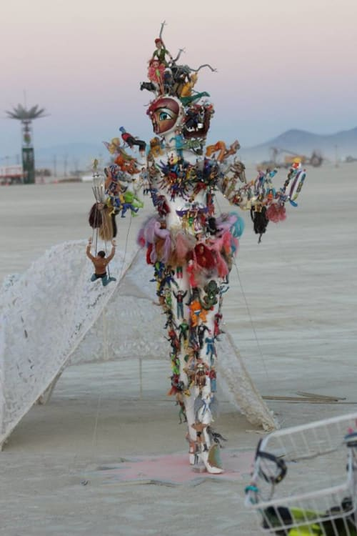 Sculptures by Jallen Rix seen at Burning Man 2017 - Action Figure Family