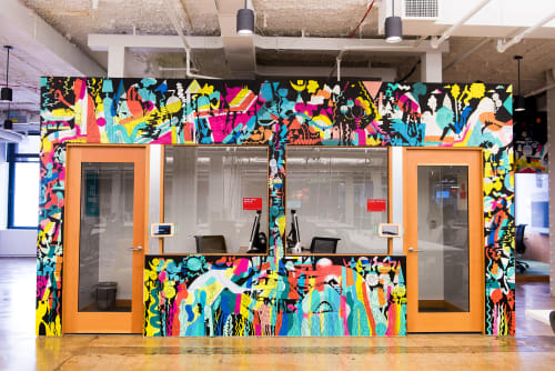 Murals by Mike Perry Studio seen at Facebook, New York, Astor Place, New York - World Within A World