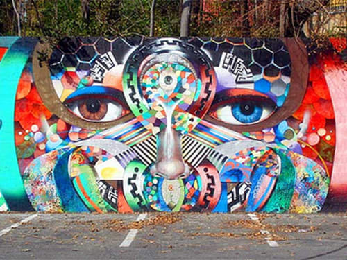 Murals by Chor Boogie seen at Rhode Island Avenue Shopping Center, Washington - The Eyes of Washington DC