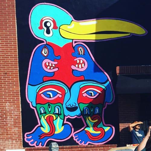 Murals by Bud Snow seen at Stork Club, Oakland - Stork