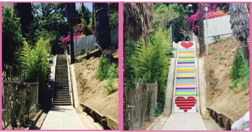 Street Murals by Carla O'Brien seen at Micheltorena Street, Los Angeles - Stair Candy