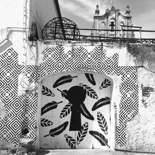 """Street Murals by Alecrim seen at Carreira de São Francisco, Montemor-o-Novo - """"Secret Garden"""""""
