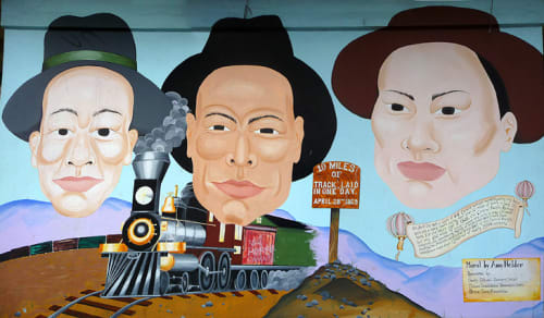 Street Murals by Amy Nelder seen at Chinese Charity Cultural Services Center, Chinatown, San Francisco - Chinese Railroad Workers