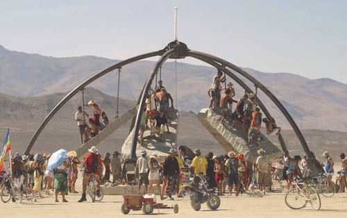 Sculptures by Zachary Coffin seen at Burning Man - Temple of Gravity