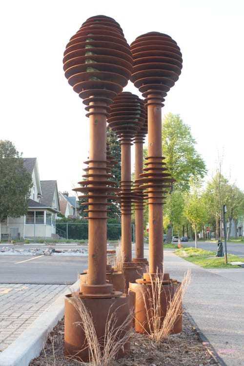 Sculptures by James Brenner seen at Edison High School, Minneapolis - Green Light Project