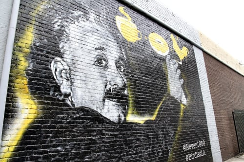 Murals by Cult-Classics (Jonas Never) seen at Birdies, Los Angeles - Mural by Jonas Never (Albert Einstein mural on the western exterior wall)