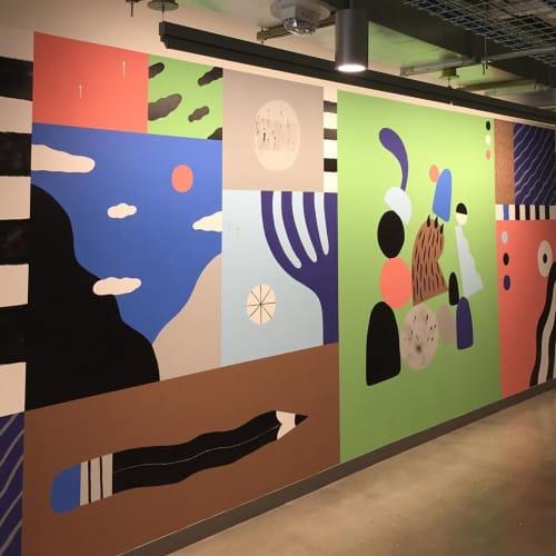 Murals by Ryan Bubnis Studio seen at Facebook - Arbor Blocks East, Seattle - Mural