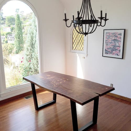 Tables by Charles Lushear seen at Private Residence, Hollywood, Los Angeles, CA, Los Angeles - Totoro Live Edge Table