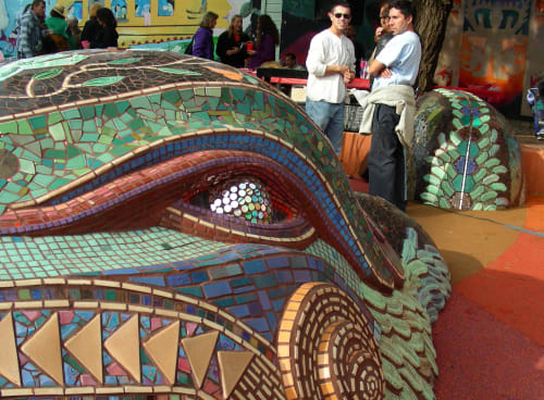 Public Sculptures by Colette Crutcher seen at 24th & York Mini Park, San Francisco - Quetzalcoatl Sculpture