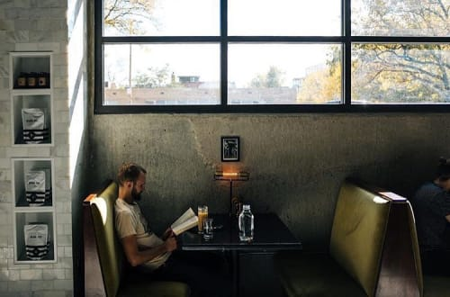 Lamps by Jones County Road at Black Eye Coffee - LOHI, Denver - Electric T Bankers Desk Lamp