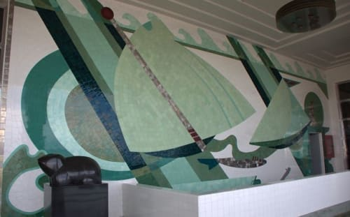 Murals by Sargent Johnson seen at Maine Maritime Academy, Castine - Glazed Tile Mural
