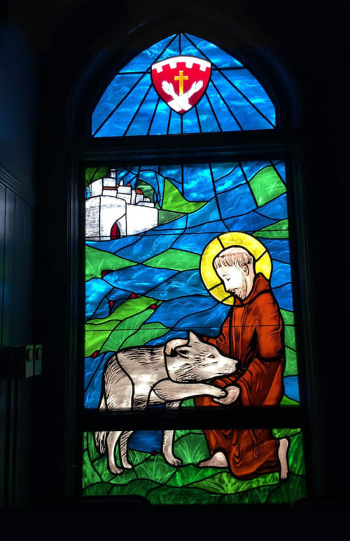 Murals by Stefan Salinas seen at St Philip's Church, Chapel, San Francisco - St. Francis and the Wolf of Gubbio