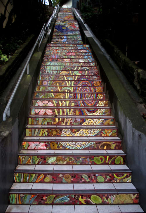 Street Murals by Colette Crutcher seen at Hidden Garden Steps, 16th Avenue, San Francisco, San Francisco - Hidden Garden Steps