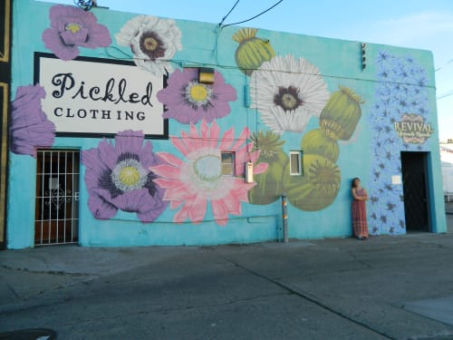 Murals by Megan Stevens seen at Pickled, Redwood City - Flower Explosion