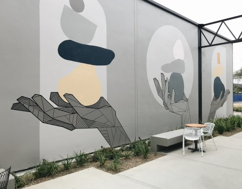Murals by Allison Kunath seen at 555 aviation, El Segundo - Balance