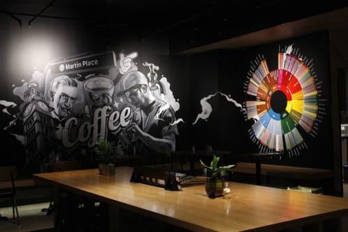 Murals by Sam Shennan seen at Tap Espresso & Salad Bar, Sydney - Flavor Wheel