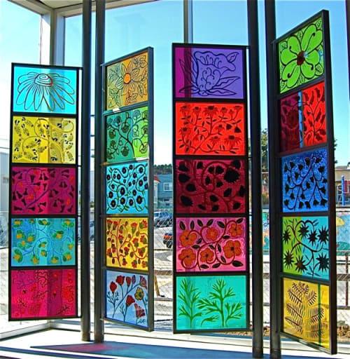 Public Mosaics by Dana Zed seen at Portola Branch Library 380 Bacon St, San Francisco, CA 94134, San Francisco - California Wildflowers