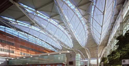 Sculptures by James Carpenter seen at San Francisco International Airport, San Francisco - Four Sculptural Light Reflectors