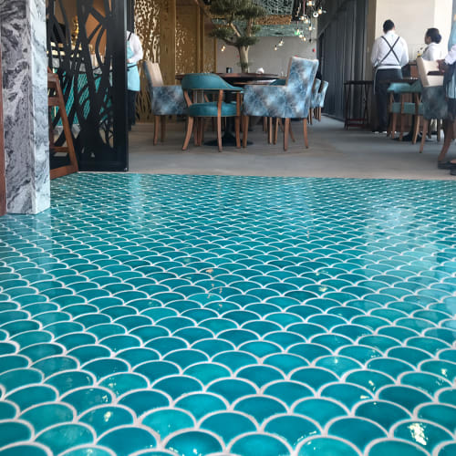 Tiles by Otto Tiles And Design seen at La Mer Dubai, Dubai - Fish Scales on the Floors