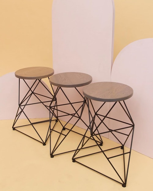 Chairs by Amigo Modern seen at Ojai Rancho Inn, Ojai - Octahedron Stool