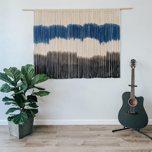 Macrame Wall Hanging by Love & Fiber - Extra Large Modern Navy Macrame Wall Hanging