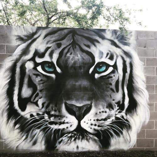 Street Murals by Emily Vanderlism seen at Prahran, Prahran - Tiger Mural