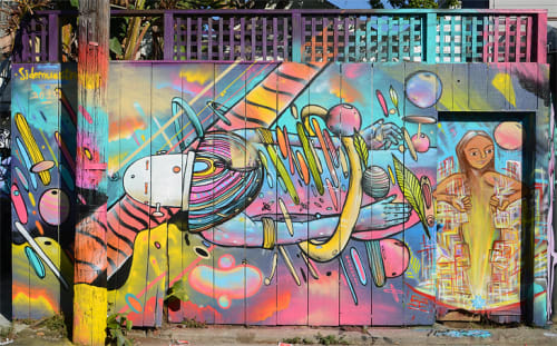 Street Murals by Sidemuestro seen at 175 Cypress Street, Mission District, San Francisco - Space Traveler