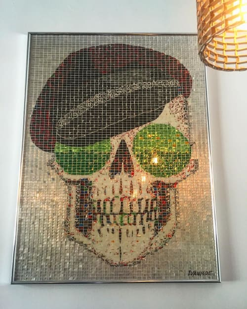Public Mosaics by Jeff Ivanhoe seen at Mercado Hollywood, Los Angeles - Miles Skull Mosaic