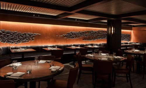 Sculptures by Pascale Girardin seen at Nobu Downtown, New York - Black Glazed Stoneware Mural