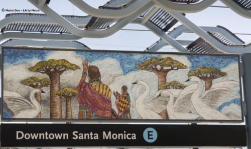 Public Mosaics by Judithe Hernández seen at Downtown Santa Monica Station, Santa Monica - L.A. Sonata