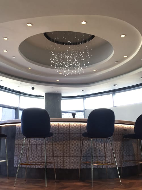 Chandeliers by Neptune Glassworks seen at STAPLES Center - Clippers Private Lounge, Los Angeles - Rain Chandelier