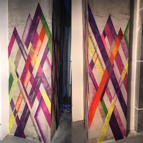 "Murals by Chris ""DüWerks"" Dudot seen at STK Miami, Miami - Concrete Column Paint"