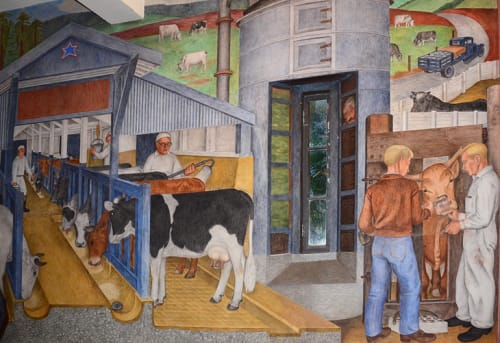 Murals by Gordon Langdon seen at Coit Tower, San Francisco - California Agricultural Industry