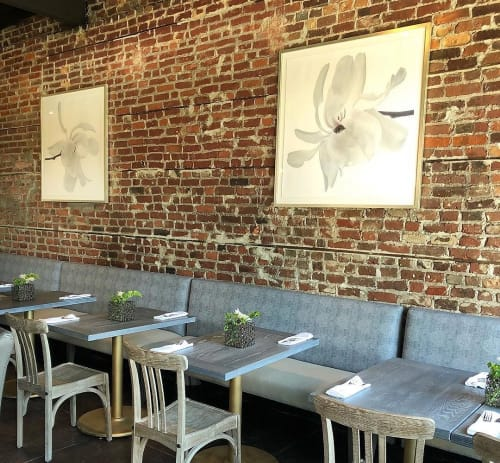 Paintings by Thomas Hager seen at The Restaurant at Four Eleven York, Norfolk - White Japanese Magnolia