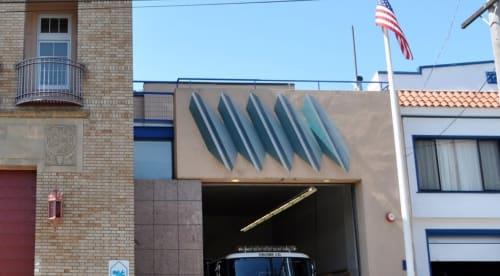 Sculptures by Elizabeth Saltos seen at San Francisco Fire Department Station 44, San Francisco - Diagonal Relief