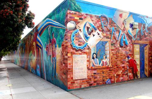 Street Murals by Joshua Sarantitis seen at Harrison Street, SoMa, San Francisco - Carnaval
