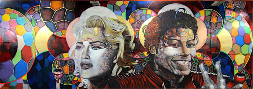 Street Murals by Chor Boogie seen at The Cubes, New York - Like a Material Moonwalking Virgin