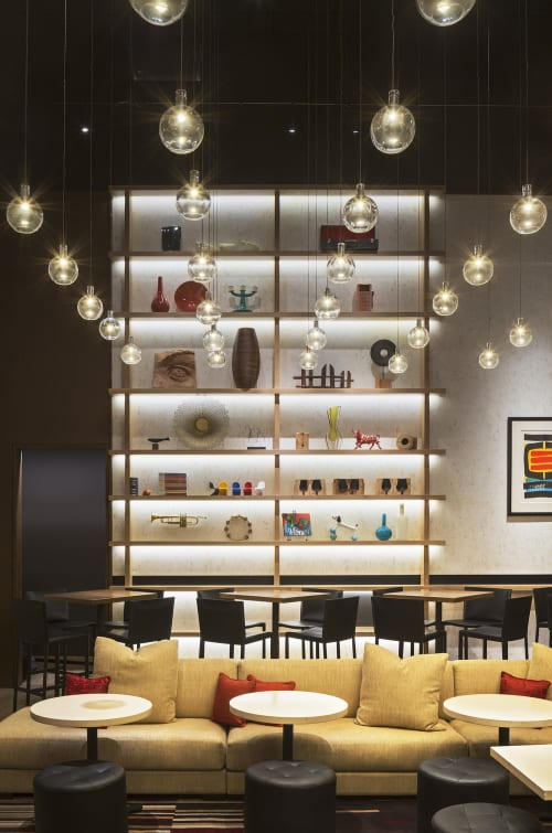 Pendants by KGM Architectural Lighting seen at Aldo Sohm Wine Bar, New York - Crystal Pendant Orbs