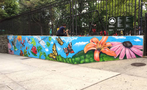 Murals by Lady K Fever seen at Mosholu Playground, Bronx - Birds Eye View; Soaring; Natural Elements