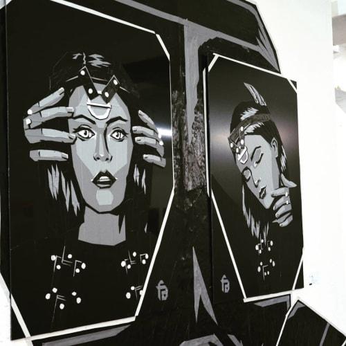 "Tape Art Installation ""Reflection""   Murals by Fabifa   Neurotitan Shop & Gallery in Berlin"