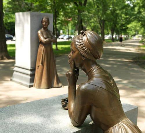 Sculptures by Meredith Bergmann seen at Commonwealth Avenue Mall, Boston - Boston Women's Memorial