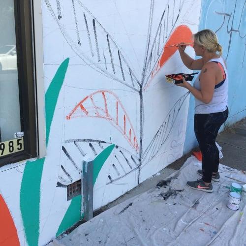 Murals by Sarah Allen seen at Rex Hairdressers, West Footscray - Artwork Mural