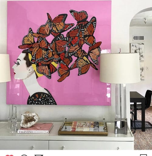 Paintings by Ashley Longshore seen at Private Residence, New York - Audrey With Swarming Monarchs And Pink Background